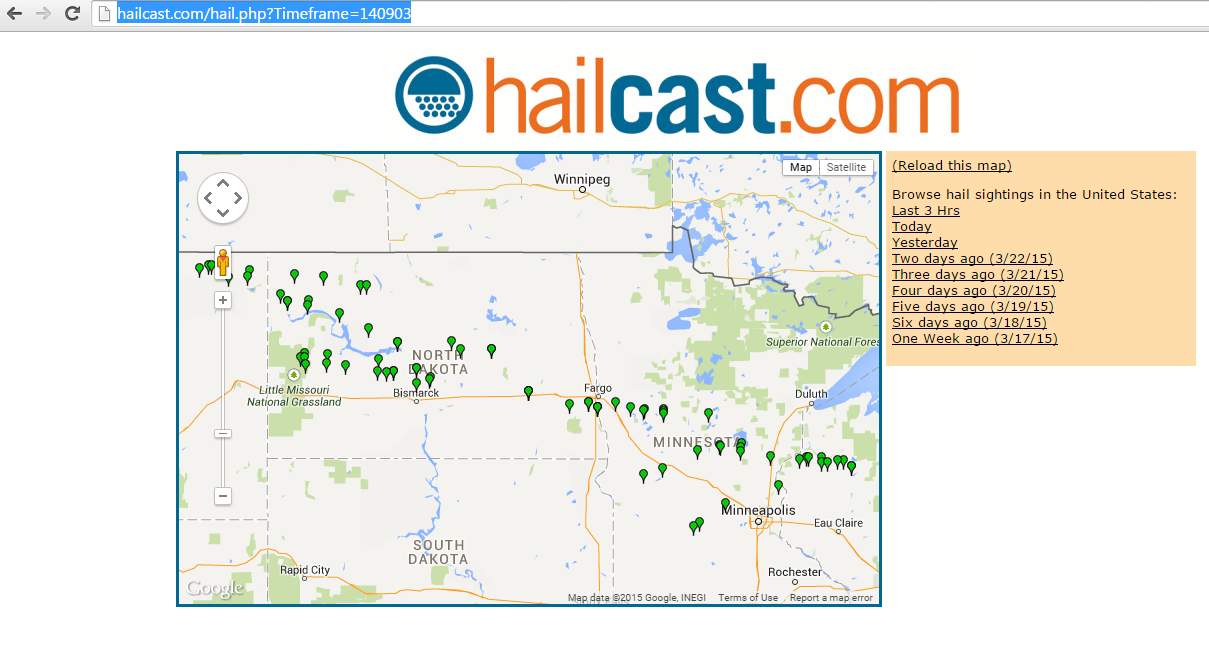 Screenshot of Hailcast.com on 9/3/2014