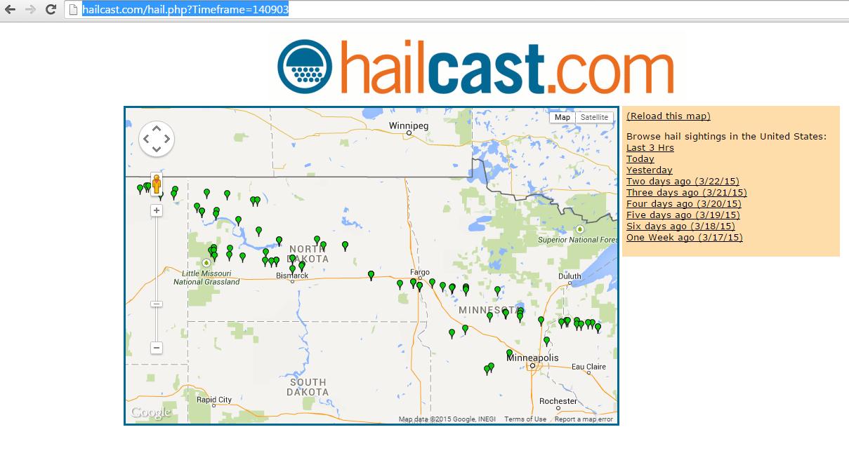 Screenshot of Hailcast.com on 9/3/2014